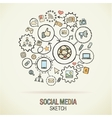 social media hand drawing hatch icons vector image vector image