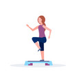 sporty woman doing squats on step platform girl vector image vector image