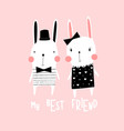 sweet rabbits print design with slogan vector image