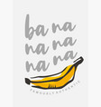 tee shirt print template with yellow banana vector image
