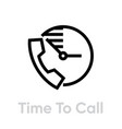 time to call icon editable line vector image vector image
