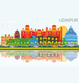 udaipur india city skyline with color buildings vector image vector image