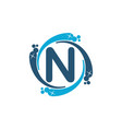 water clean service abbreviation letter n vector image