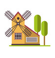 windmill rural agicultural structure near trees at vector image