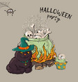witch crafting pot halloween card poster vector image