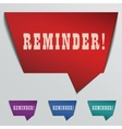 reminder red 3d realistic paper speech bubble vector image