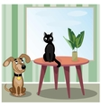 Dog and cat in room vector image