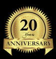 20 years anniversary gold seal logo design vector image