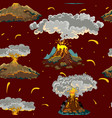 a set of volcanoes of varying degrees of eruption vector image vector image