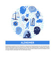 alzheimer s symptoms round concept banner in flat vector image vector image