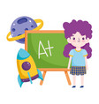 back to school student girl chalkboard rocket vector image vector image