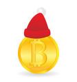 bitcoin and santa claus hat gift from santa vector image