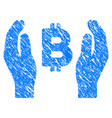 bitcoin care hands grunge icon vector image