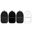 Black urban backpack set vector image vector image