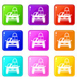 car with padlock icons 9 set vector image vector image