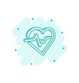 cartoon heartbeat line with heart icon in comic vector image vector image