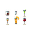 cartoon set alcoholic drinks in vector image
