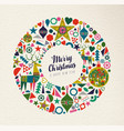 christmas and new year retro shape icon decoration vector image