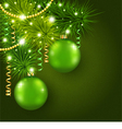 Christmas tree decorated with green balls vector image vector image