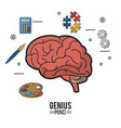 colorful poster of genius mind with brain in vector image vector image