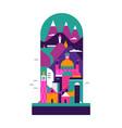 colorful scandinavian cartoon city landscape vector image