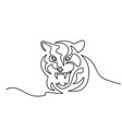 continuous one line drawing tiger symbol logo vector image vector image