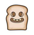 creepy smiling slice bread cartoon vector image vector image