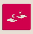 currency exchange from hand to hand euro and yen vector image vector image