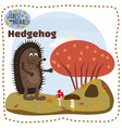 cute hedgehog on a background of a landscape with vector image vector image