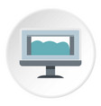 drawing monitor icon circle vector image vector image
