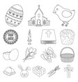 easter is a christian holiday outline icons in set vector image vector image