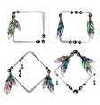 feathers boho square frames vector image