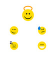 flat icon emoji set of winking angel grin and vector image vector image