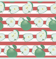 fresh green apples on a striped red and white vector image vector image