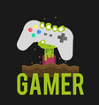 gamer zombies hand holding joystick background vec vector image