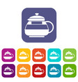 glass teapot icons set vector image vector image