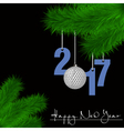 Golf ball and 2017 on a Christmas tree branch vector image
