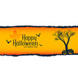 halloween festival scene with tree flying bats vector image vector image