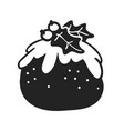 hand drawn christmas pudding on white background vector image