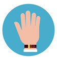 hand palm icon on round blue background vector image vector image