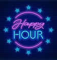 happy hour neon sign vector image vector image