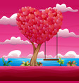 happy valentine day with heart tree and swing vector image vector image