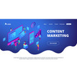 isometric content marketing landing page vector image vector image