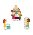 kids help with house cleaning listen to grandma vector image vector image