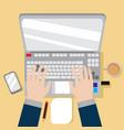 laptop workspace hand gesture graphic vector image vector image