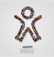 large group of people in the happy man shape vector image vector image