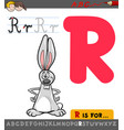 letter r with cartoon rabbit vector image vector image