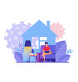 man works at home office during covid19 19 vector image vector image