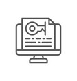 monitor with password text key line icon vector image