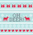 oh deer pattern christmas seamless design winter vector image vector image